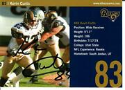 St Louis Rams Kevin Curtis Hand Signed 5x7 Bio Card Todd Mueller Coa