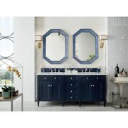 72 James Martin Brittany Victory Blue Double Bathroom Vanity + White Marble Top