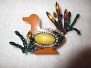 Lawrence Vrba Crystal Bakelite Duck Pin Signed Vintage Large Runway Couture Mint