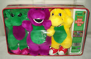 2556 Vintage Plush Barney Baby Bop And Pj 1999 Happy Holidayand039s Collectible Tin