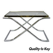 Vintage Chrome Brass And Glass Hollywood Regency X-frame Small Coffee Side Table