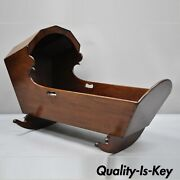 Antique Crotch Mahogany Victorian Empire Dovetailed Baby Bed Doll Cradle