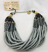 Masha Archer Gray And Black 1920andrsquos Snake Bead 18 Strand Collar Necklace One Kopeck