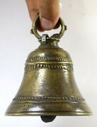 Antique Old Brass Big Bell Traditional Asian Home Garden Decorative. G70-196 Us