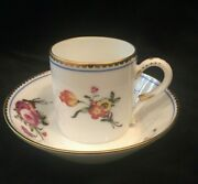 Set Of 12 Royale France Limoges Coffee Litron Cup And Saucer A La Reine Pattern