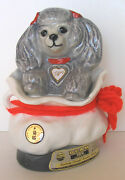 Vintage Adorable Tiffiny Poodle Mascot Dog In Regal China Purse Beam Decanter