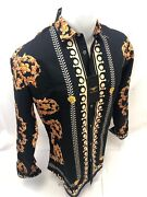 Mens Premiere Long Sleeve Button Down Dress Shirt Black Gold Leaf Abstract 514