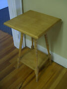 Vintage Birdseye Maple Plant Stand/ Two-tiered With Turned Legs