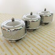 Hot Rod 3 X 2brl Domed Chrome Air Cleaners 2 5/8 Or 2 5/16 Neck- Tri-carb