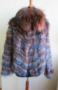 Womenand039s Sz 8 Brand New Knitted Burgundy And Blue Fox Fur Jacket Coat