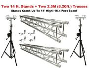 Two 14and039 Crank Up Stands With Two 8.20and039 Square Aluminum Truss Segments Package