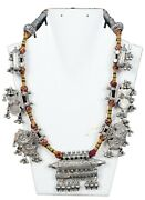 Rare Collectible Silver Jewelry Indian Antique Tribal Amulet Necklace G10-121