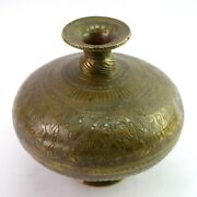 Authentic Antique Krishna Dancing Figurative Old Water Pot Collectible G56-79 Us