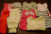 Baby Girl Lot Of 5 Outfits Size 0-3 Months Carters Little Me Flowers Kittens