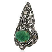 Pave Diamond And Carved Emerald Cocktail Knuckle Ring 18k Gold Silver Jewelry