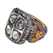3.27ct Natural Pave Diamond 14k Gold Sterling Silver Ruby Ring Vintage Jewelry