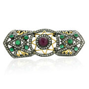 3.8ct Emerald Ruby Diamond Full Finger Cocktail Ring 18k Gold 925 Silver Jewelry