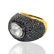 Balck Pave Diamond Dome Ring 18k Gold 925 Sterling Silver Jewelry Gift