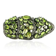 13.8ct Peridot Diamond Full Finger Cocktail Ring 18k Gold 925 Silver Jewelry