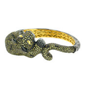 Studded Sapphire And Diamond Panther Bangle 14k Gold Silver Jewelry Halloween Sale