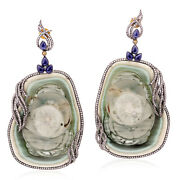 216.2ct Jasper And Pave Diamond Dangle Earrings 18k Gold Sterling Silver Jewelry