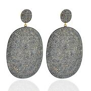 13.12ct Pave Diamond Dangle Earrings 14k Gold Sterling Silver Vintage Jewelry