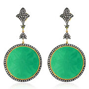 41.65ct Carved Onyx And Diamond Dangle Earrings 18k Gold Sterling Silver Jewelry