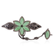 Marquise Cut Jade Floral Palm Bracelet Diamond 18k Gold 925 Silver Ring Jewelry