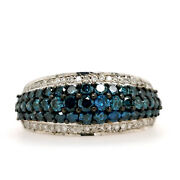 1.64ct Fine Cut Blue Diamond Engagement Band Ring 925 Sterling Silver Jewelry