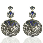 8.52ct Pave Diamond And Sapphire Dangle Earrings 18k Gold 925 Silver Jewelry