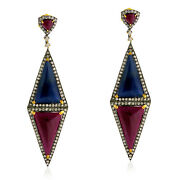 39.3ct Ruby And Sapphire Dangle Earrings Gold Silver Pave Diamond Handmade Jewelry
