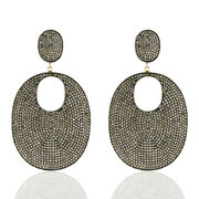 14.08ct Pave Diamond 14k Gold 925 Sterling Silver Dangle Earrings Jewelry Gift