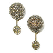 6.35ct Pave Diamond Double Sided Bead Ball Stud Earrings 925 Silver 18k Gold