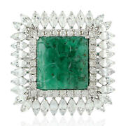Carved Flower Emerald Marquise Cut Diamond Cocktail Ring 18k White Gold Jewelry