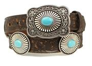 Ariat Western Womens Belt Leather Floral Embossed Large Conchos Brown A1529402
