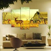 Deer On Farm In Forest With Tractor Painting 5 Piece Canvas Wall Art