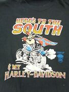 3d Emblem T Shirt Harley Davidson Early Single Stitch Large - Heres To The South