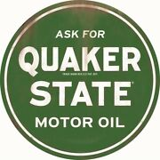24 Wide Quaker State Motor Oil Curved Button Style Tin Sign Open Road 90169012