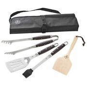 New Pampered Chef Grilling Tool Set Tongs, Spatula, Basting Brush, Scraper, Case