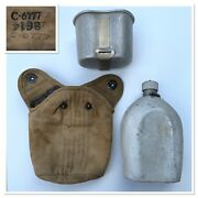 Vintage Ww1 1918andrsquos Usmc Military Army Canteen With Cup And Canvas Cover C-6777