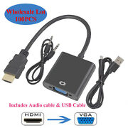 100x 1080p Hdmi Male To Vga Female Video Cable Cord Converter Adapter +usb Cable