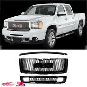 Fit 07-13 Gmc Sierra 1500 Denali Upper And Lower Grille And Hood Molding Black 3pcs