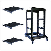 15u 4 Post Open Frame 19and039and039 Server/audio Steel Rack Deep From 16-32 3 Shelves