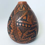 Handmade Red Clay Navajo Vase Signed By T. Tom/l. Sam