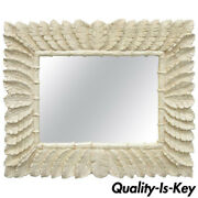 Large Vintage White Lacquered Tropical Palm Leaf Faux Bamboo Wall Mirror