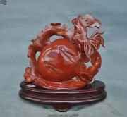9natural Agate Onyx Carving Feng Shui Radish Animal Cock Rooster Chicken Statue