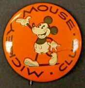 Rare 1930's Mickey Mouse Club 1.25 Pin Pinback Button With Paper In Back Nm-mt