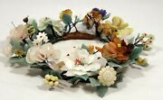 Elegant Rare Grand Carved Chinese Jade Floral Centerpiece / Wreath 13 Wide