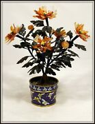 Antique Hand Carved Jade Tree From China In A Cloisonne Pot 13 H X 10.5 W