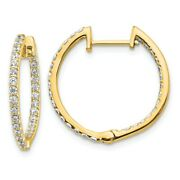 14k 14kt Yellow Gold Diamond In And Out Hinged Hoop Earrings 19 Mm X 20 Mm